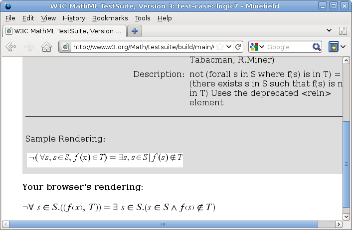 MathML Testsuite, testing content markup.